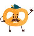 sweet humanized pretzel character isolated vector image vector image