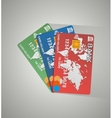 three cards credit cards vector image