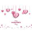 valentines day design with hanging pink hearts vector image