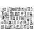 windows hand drawn doodle set vector image