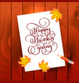 hand drawn calligraphy lettering text happy vector image