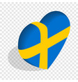 heart of sweden flag colors isometric icon vector image
