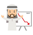 arab with profit drop on white background vector image vector image