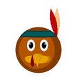 avatar of a turkey bird with an indian hat vector image vector image