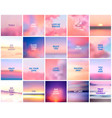 big set of 20 square blurred nature purple pink vector image vector image