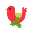 bird and mistletoe cute christmas and winter vector image