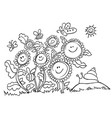 black and white happy cartoon sunflowers vector image vector image