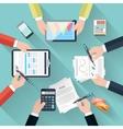 Businessmen hands with different office activities vector image vector image