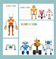cartoon card invitation with metal aliens icons vector image