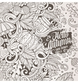 Cartoon cute doodles hand drawn Autumn frame vector image vector image