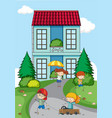 children playing in front of house vector image