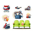 cinema set director s red armchair with shout 3d vector image