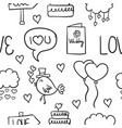 collection of wedding object doodled style vector image vector image