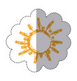 color sticker with hand drawn sun close up vector image vector image