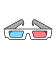 colorful 3d cinema eye glasses concept vector image