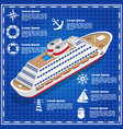 cruise liner on a blue background vector image vector image
