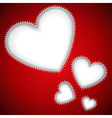 Cut heart shapes red background vector image