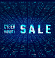 cyber monday sale banner with glitch effect on vector image