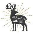 deer vintage logo template with text vector image