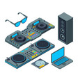 dj studio music tools for party isolated on white vector image vector image