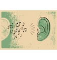 Ears with music notes Music poster vector image