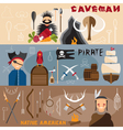 flat design banners with cavemanpirate and native vector image vector image