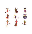 flat set young witches in different vector image vector image