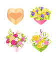 four colorful boxes with heart s shape color card vector image vector image