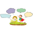 girl and boy with speech bubbles vector image