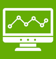 graph in computer screen icon green vector image vector image