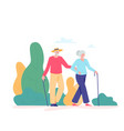 group old people walking outdoor vector image vector image