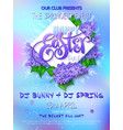 happy easter party poster with lettering vector image vector image