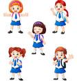 happy school girls in different posing vector image vector image