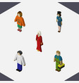 isometric people set of lady female plumber and vector image vector image