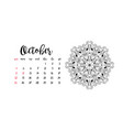 monthly desk calendar template for month october vector image