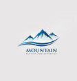 mountain peaks with double wave logo vector image vector image