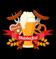 oktoberfest beer festival design in flat style vector image