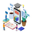 Online education isometric icons composition with