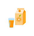 orange juice in the glass and box package isolated vector image