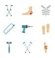 orthopedic prosthetic icon set flat style vector image vector image