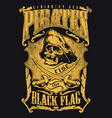 pirates rise black flag vector image vector image