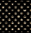 seamless pattern with golden crowns vector image vector image
