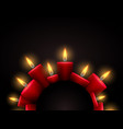 semicircle frame with red luminous candles and vector image