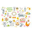 set of easter cartoon characters and design vector image