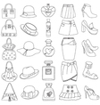 Set of outlined shoes handbags skirts hats perfume vector image vector image