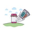 smartphone with tent and tickets comming out vector image vector image