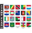 stamp with official country flag set 8 12 vector image