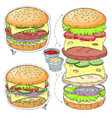 sticker icon cartoon tasty big hamburger vector image