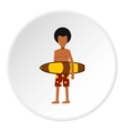 Surfer man icon flat style vector image vector image