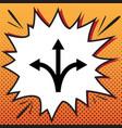 three-way direction arrow sign comics vector image vector image